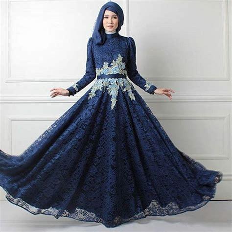 Gaun Pesta Panjang Bahan Silk Dan Bertali Dekorasi Manik Longdress 10 contoh model baju pesta muslim modern elegan mewah