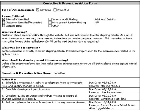 corrective and preventive actions asq service quality