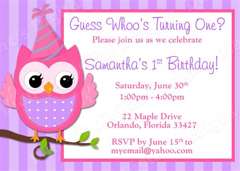 children s owl birthday invitation girl design 3