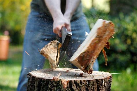 Holz Spalten Mit Der Axt Autoreifentrick 1 1