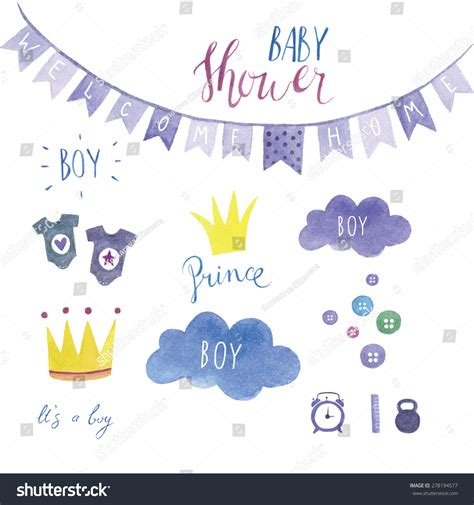Baby Shower Sts by Baby Shower Set For Boy Stock Vector 278194577