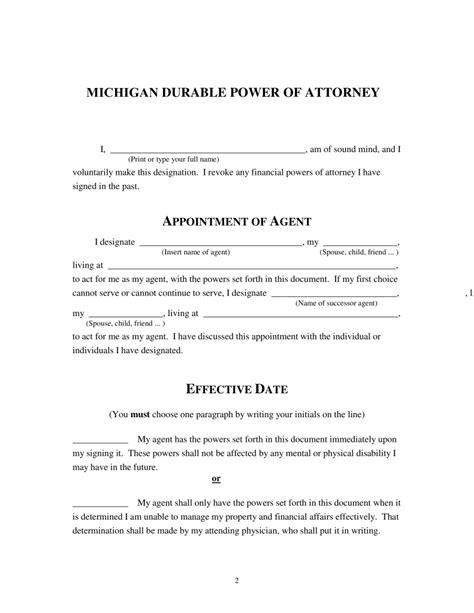 Free Michigan Power Of Attorney Forms Word Pdf Eforms Free Fillable Forms Power Of Attorney Template Michigan