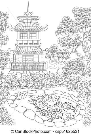 japanese temple coloring page pagoda torre giapponese cinese o schizzo coloritura