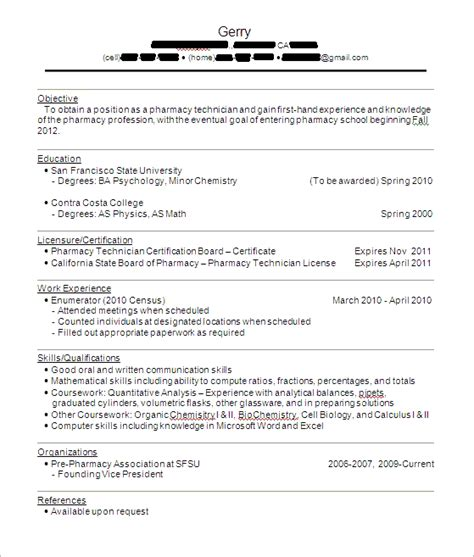 pharmacy tech sle resume experience resumes