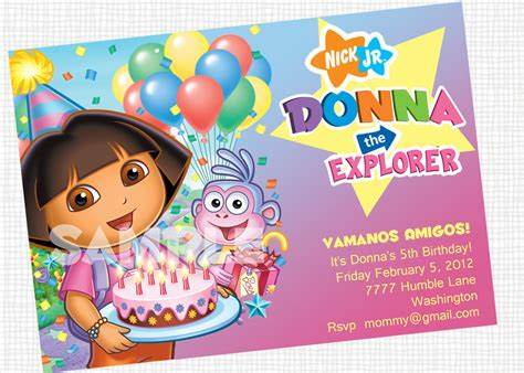 printable invitations dora the explorer dora the explorer invitation printable by papertinker on etsy
