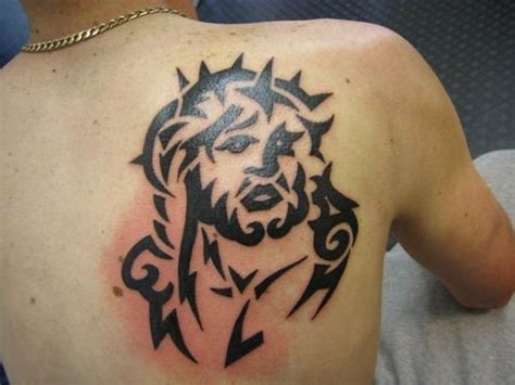 jesus tribal tattoos black ink jesus on shoulder blade tattooimages biz