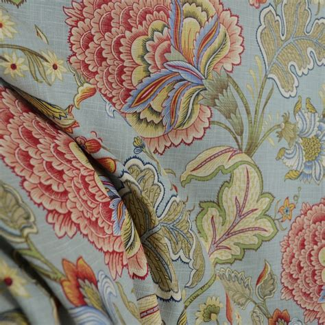 latex printable fabric meadowlark surf blue jacobean floral linen fabric with