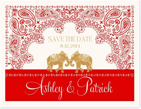 Paisley Indian Save The Date Cards Modern And Contemporary Wedding Save The Dates Documents Save The Date Indian Wedding Templates Free