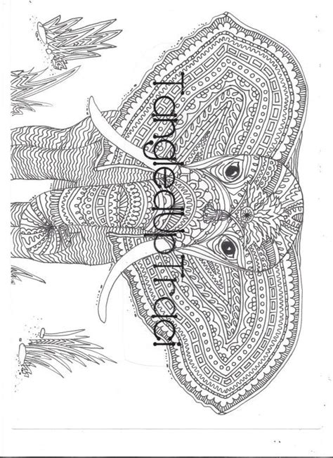 detailed  intricate elephant zentangle coloring page