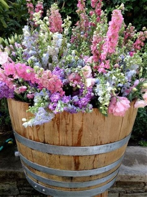 Barrel Planter Combo by Barrels Planters And Flower On