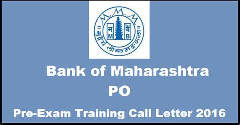 Letterhead Of Bank Of Maharashtra bank of maharashtra po pre call letter 2016