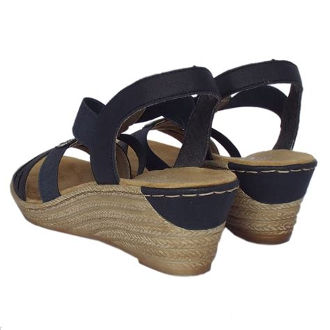 comfortable wedge rieker antistress clare comfortable navy blue sandals