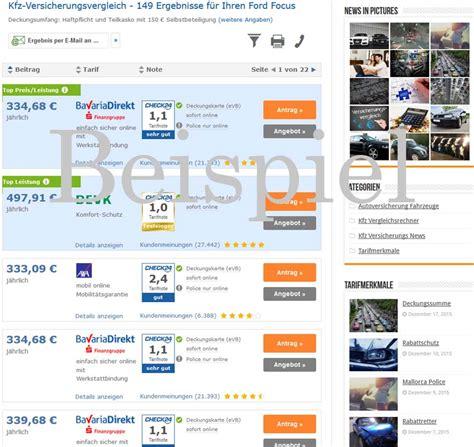 Günstige Kfz Versicherung Ohne Vorversicherung by Ford Focus Versicherung Jetzt Online Vergleichen