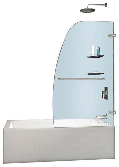 Frameless Glass Shower Door Parts Dreamline Aqua Uno 34 Quot Frameless Hinged Tub Door Clear Glass Chrome Modern Shower Doors