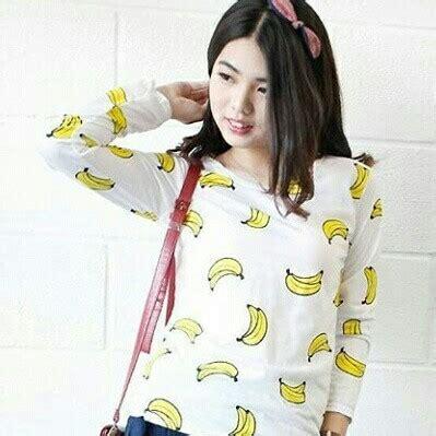 Fania Kaos Lengan Pendek Banana gambar korea st banana denim putih baju gambar di rebanas