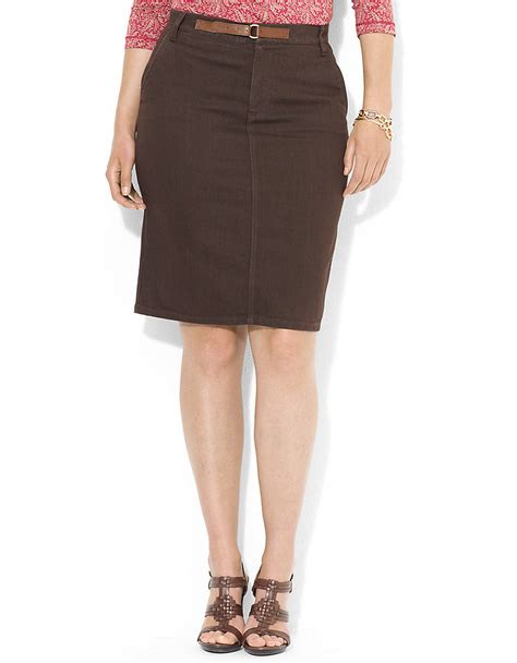 by ralph plus stretch denim skirt in brown
