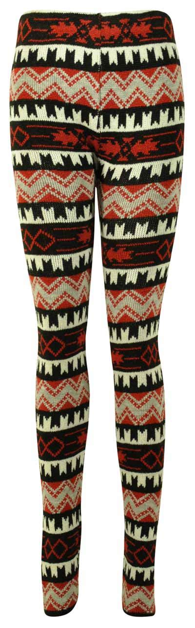 winter pattern leggings uk ladies aztec pattern womens stretch knitted trouser winter