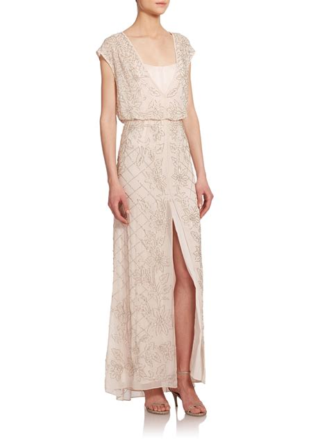 Bw0051 Maxi Dress Pink lyst needle thread aura maxi dress in pink