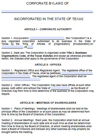 Free Texas Corporate Bylaws Template Pdf Word Corporate Bylaws Template Free