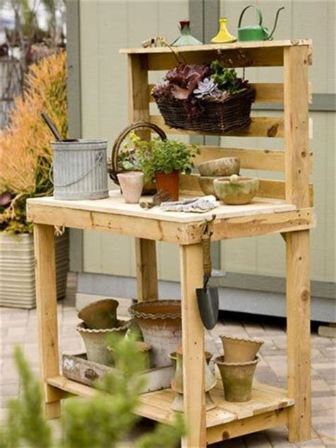 pallet garden work bench reclaimed pallet work bench for garden pallets designs