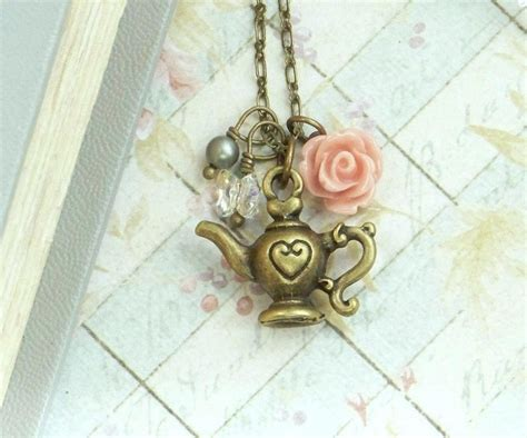 teapot necklace shabby chic jewelry rose necklace teapot