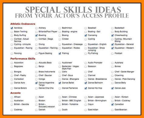 8 acting resume special skills time table chart