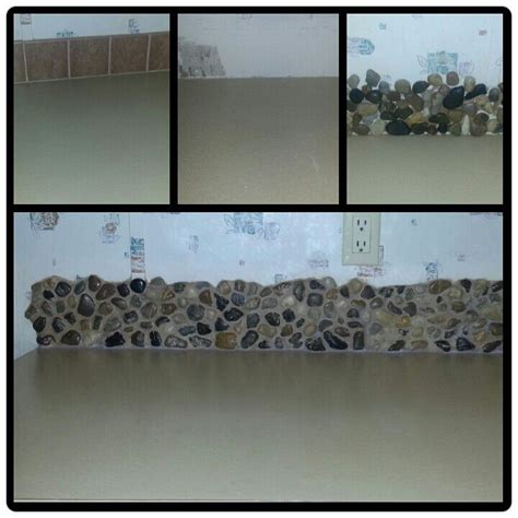 River Rock Backsplash I Did This In My Kitchen I Used River Rock Backsplash