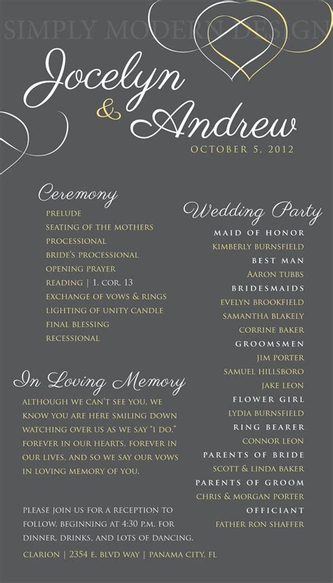 wedding ceremony program hearts wedding signage reception wedding bridal order - Wedding Ceremony Program Wording One Page