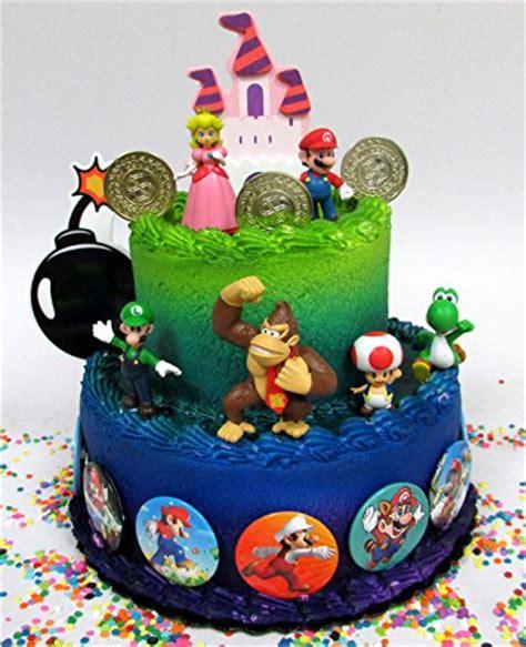 mario brothers  piece birthday cake topper set featuring mario castle bomb mario coins