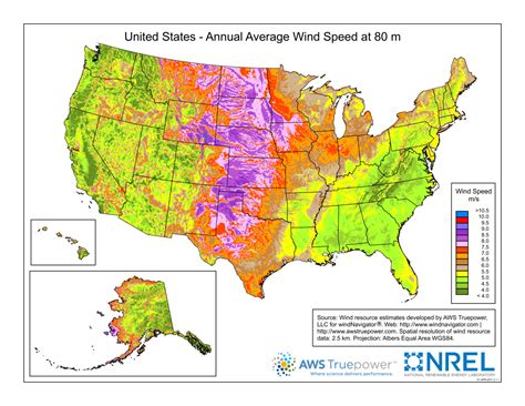 america heightmap annual average wind speed at 80 m in the us maps on the web