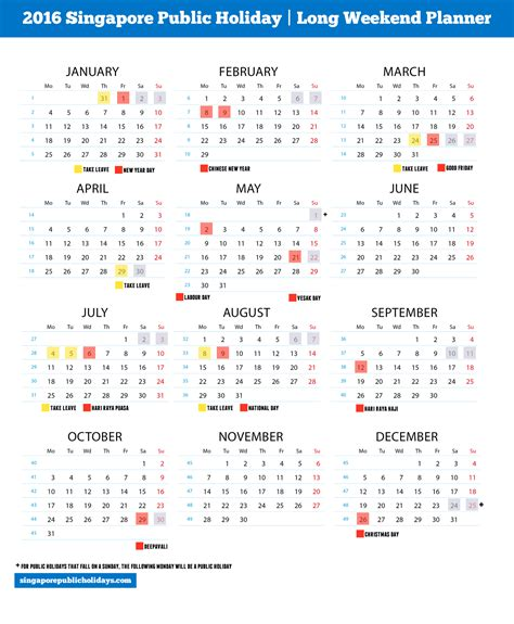 2016 monthly planner printable singapore singapore public holidays 2016 6 long weekend in 2016