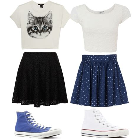 crop tees high waisted skirts and high top converse