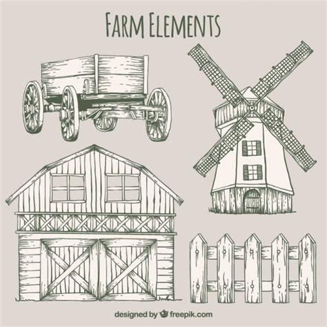 granero vector bocetos de elementos de granja y granero descargar