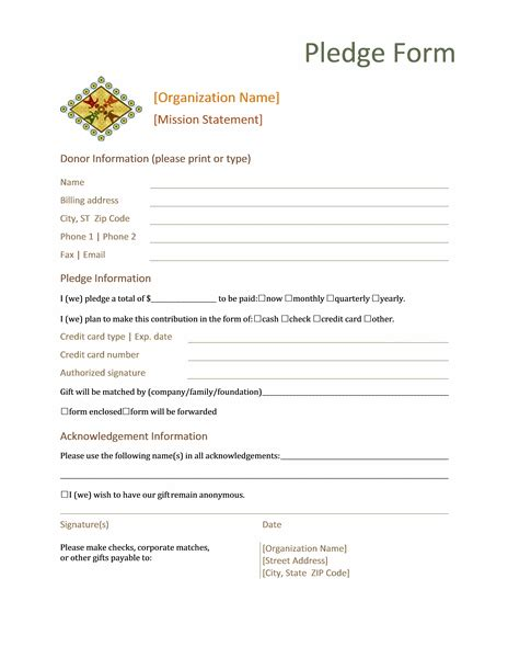 Donation Pledge Form This Form Normally Contains Basic Information About The Donor Name Pledge Sheet Template