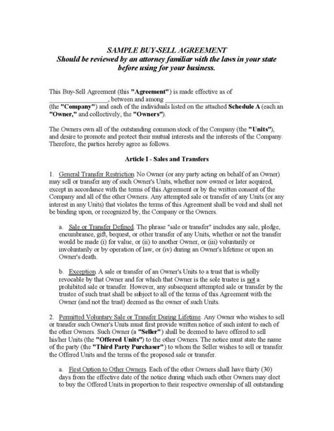 buy sell agreement template free understanding the 3 fundamentals of a buy sell agreement