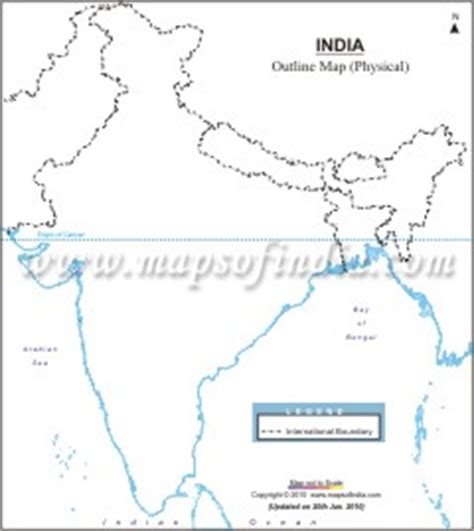 India Physical Map Outline A4 Size by Cbse Map Lists