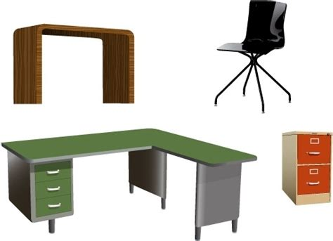 Free Office Desks Office Furniture Vectors Free Vector In Adobe Illustrator