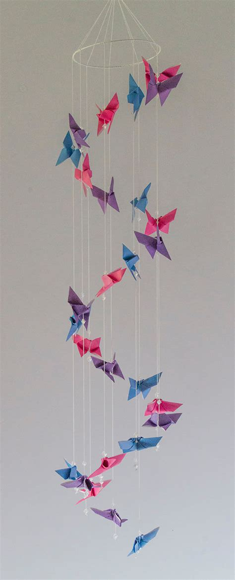 Origami Butterfly Mobile - origami butterfly spiral mobile in 3 colors pink purple