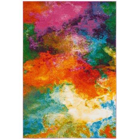 watercolor area rug safavieh watercolor orange green 6 ft 7 in x 9 ft area rug wtc619d 6 the home depot