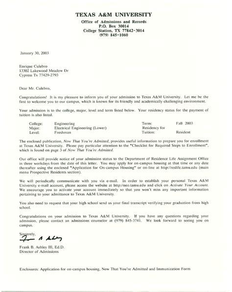 Acceptance Letter A M Colleges