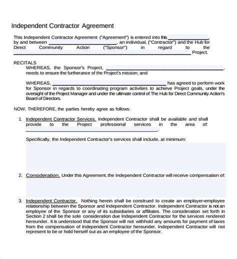 Free Printable Independent Contractor Agreement 19 sle independent contractor agreements sle