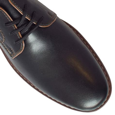 rieker shoes clarence mens smart shoes in black leather