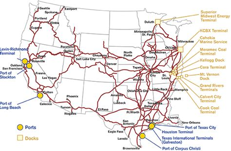 union pacific railroad map texas up ports and docks served