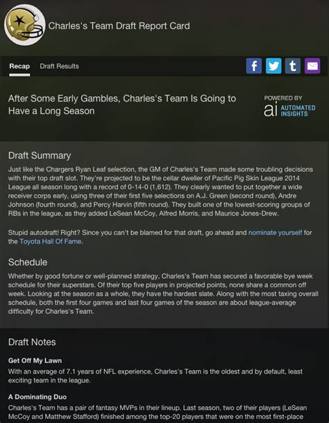 email yahoo fantasy football support overview of draft grades and recap yahoo help sln24890