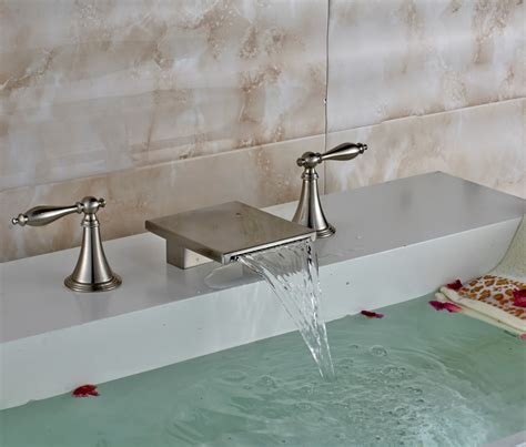 long bathroom sink with two faucets brushed long dual handle bathroom sink waterfall faucet