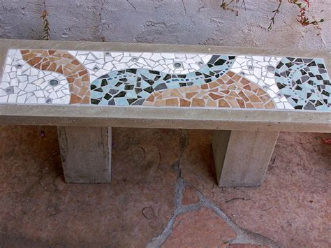 Concrete Garden Benches Concrete And Mosaic Bench 48 Quot X14 Quot Julie Boegli Creative