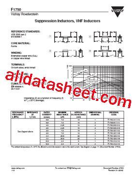 vishay inductors datasheet f1750 datasheet pdf vishay siliconix