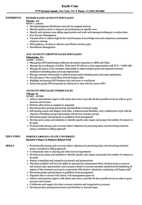 sales account specialist resume sles velvet