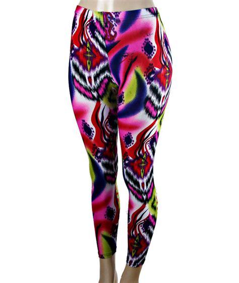 neon pattern leggings pink multi color fluorescent neon geometric printed