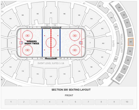 How Many Seats Does Square Garden Hold by How Many Seats Per Row In Section 305 At Square